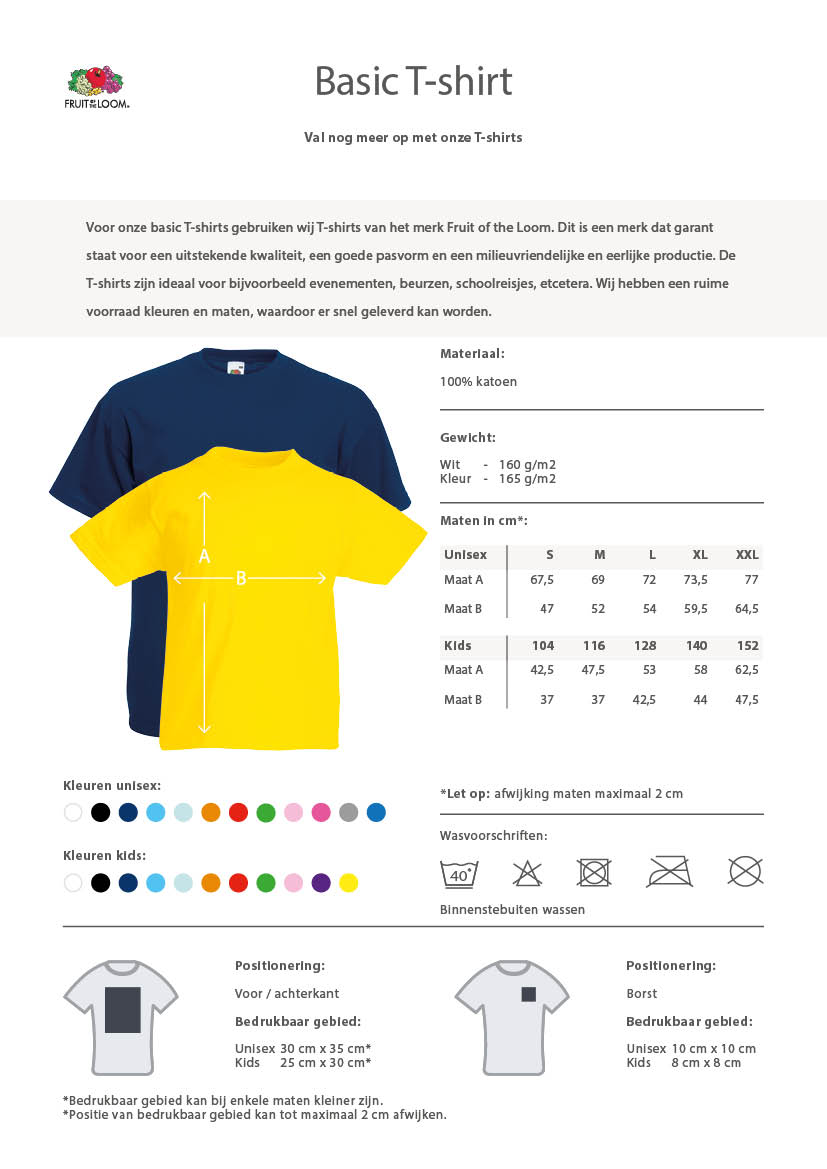 basic t-shirts informatie